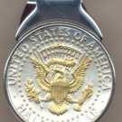 M36 Kennedy half (Eagle - Banner + All stars done in gold) Total size of clip 1-1/4
