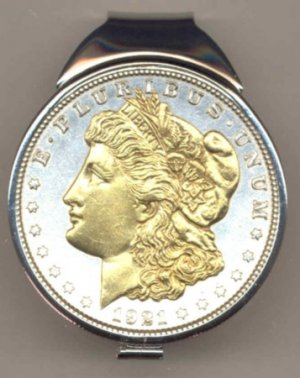 M63 U.S. Morgan Silver dollar (1878 - 1921) Total size of clip 1-1/2