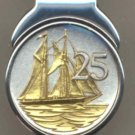"MC116 Cayman Islands 25 cent ""Sail boat"" (quarter size) Total clip size 1"" x 1-½"""