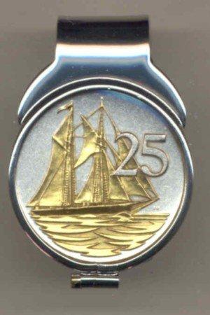 """MC116 Cayman Islands 25 cent """"Sail boat"""" (quarter size) Total clip size 1"""" x 1-½"""""""
