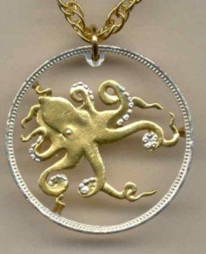 "C-166 Tuvalu 50 cent ""Octopus"" (A little bigger than a U.S. ½ dollar)"