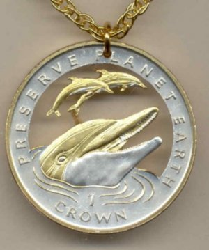 """C-174 Gibraltar 1 Crown (Preserve Planet Earth) """"3 Dolphins"""" (U.S. silver dollar size)"""
