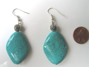 Silver plate Turquoise Earrings - Free Shipping!!!