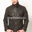 Washed Brown Leather Jacket Coats Blazers Custom Made