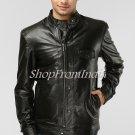 Solid Black Leather Jacket Coat Blazer Custom Made