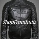 Superman Black Leather Jacket Coats Blazer Custom Made