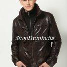 Washed Brown Leather Jacket Coat Blazer Custom Made
