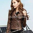 Women Brown Leather Jacket Coat Blazer Custom Made