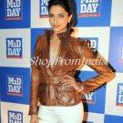 Bollywood Star Deepika Padukone Brown Leather Jacket Blazer Coat