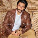 Bollywood Star Ranbir Singh Brown Lamb Leather Jacket Blazer Coats Custom Made