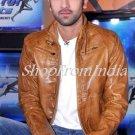 Bollywood Star Ranbir Kapoor Brown Lamb Leather Jacket Blazer Custom Made
