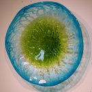 Hand Blown Art Glass Table Platter Plate Blue White Green w/ Wall Hanging Mount