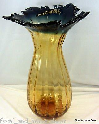 """New 18"""" Hand Blown Art Glass Blue Amber Vase Handkerchief Ruffle Fluted"""
