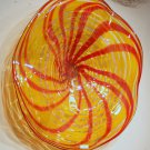 Hand Blown Art Glass Table Platter Plate Yellow Red w/ Wall Hanging Mount