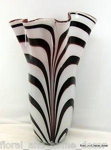 18� Hand Blown Glass Murano Art Style Vase Black White Red Handkerchief Ruffle