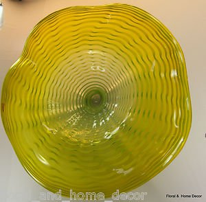 "25"" Hand Blown Art Glass Table Platter Plate Bowl Yellow w/ Wall Hanging Mount"