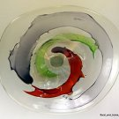 "26"" Hand Blown Art Glass Table Platter Plate Red Green Purple Wall Hanging Mount"