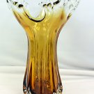 "New 12"" Hand Blown Glass Murano Art Style Scultpure Leaf Vase Amber Fluted"