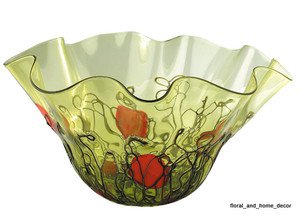 "New 21"" Hand Blown Art Glass Bowl Green Handkerchief Ruffle"