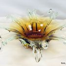 "New 12"" Hand Blown Glass Murano Art Style Sculpture Leaf Bowl Amber Clear Candy"