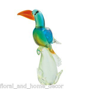 "12"" Hand Blown Glass Murano Art Style Parrot Tuscan Macaw Bird Figurine Statue"