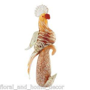 """15"""" Hand Blown Glass Murano Art Style Parrot Cockatoo Bird Figurine Sculpture"""