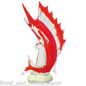 "New 13"" Hand Blown Glass Sword Fish Sculpture Figurine Statue Marlin Red"