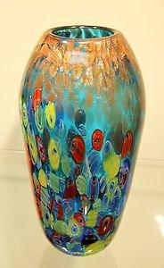 """New 10"""" Hand Blown Glass Murano Art Style Vase Blue Italian Millefiori Muticolor"""