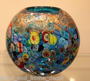 """New 7"""" Hand Blown Glass Murano Art Style Vase Blue Italian Millefiori Muticolor"""