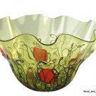 "New 21"" Hand Blown Art Glass Bowl Green Red Handkerchief Ruffle"