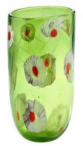 "New 13"" Hand Blown Glass Murano Italian Art Style Oval Vase Green White"