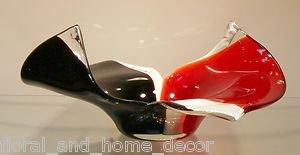 """New 13"""" Hand Blown Glass Murano Art Style Bowl  Red White Black"""