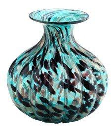 "New 10"" Hand Blown Glass Murano Art Style Vase Bowl Blue Black Gold"