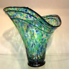 "New 15"" Hand Blown Glass Murano Art Style Vase  Blue Green Fluted Italian"