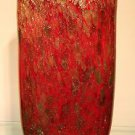 "New 13"" Hand Blown Glass Murano Art Style Oval Vase Red Gold Italian"