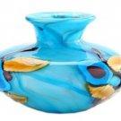 "New 6"" Hand Blown Glass Art Vase Bowl Blue Flowers"