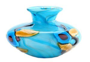 "New 6"" Hand Blown Glass Art Vase Bowl Blue Flowers"