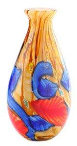 "14"" Hand Blown Glass Teardrop Art Vase Blue Red Yellow Muti-colored Millefiori"