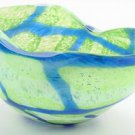 "New 14"" Hand Blown Glass Murano Art Style Bowl  Blue GreenHandkerchief Ruffle"