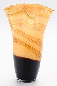 """New 14"""" Hand Blown Glass Murano Art Style Vase  Amber Black Handkerchief Ruffle"""