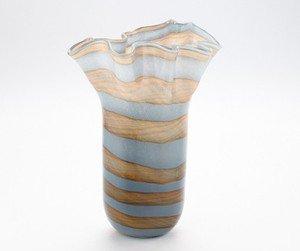"""New 14"""" Hand Blown Glass Murano Art Style Vase Blue Grey Handkerchief Ruffle"""