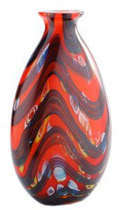 "14"" Hand Blown Glass Teardrop Art Vase Blue Black Red Muti-colored Millefiori"
