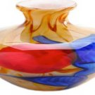 "6"" Hand Blown Glass Art Vase Bowl Blue Red Yellow Feathers Millefiori Multicolor"