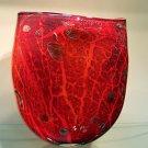 """New 13"""" Hand Blown Glass Murano Art Style Vase Red Italian Millefiori Muticolor"""