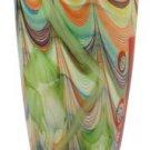 "New 12"" Hand Blown Glass Murano Art Style Vase Multicolor Green Italian"