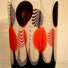 "13"" Hand Blown Glass Murano Art Style Vase Black White Red Italian Millefiori"