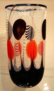 """13"""" Hand Blown Glass Murano Art Style Vase Black White Red Italian Millefiori"""