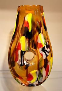 "14"" Hand Blown Art Glass Teardrop Doughnut Hole Vase Multi-Color Yellow Black"