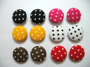 FABRIC BUTTONS - 1 INCH BUTTONS - MIXED COLORS POLKA DOT PRINT SET OF 50