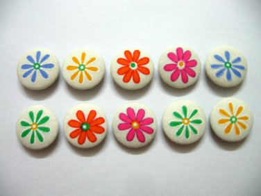 FABRIC BUTTONS - 1 INCH BUTTONS - MIXED COLORS FLOWERS PRINT SET OF 50